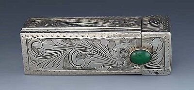 Beautiful Vintage Italian Silver Green Onyx Engraved Lipstick Holder / Case