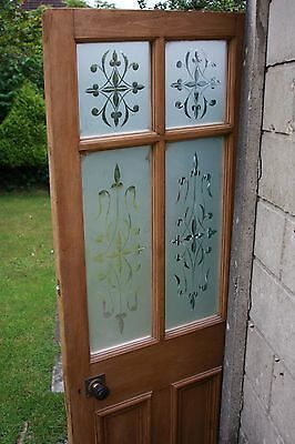 Antique Reclaimed Stripped Pine Solid Door + Stained Glass + Handles