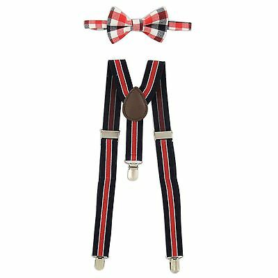 Rising Star™ Infant/Toddler Suspender and Bowtie Set in Red/Navy Plaid