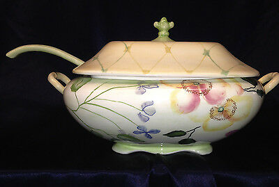 Tracy Porter Evelyn Tureen, Lid & Ladle Hand Painted Flowers & Berries