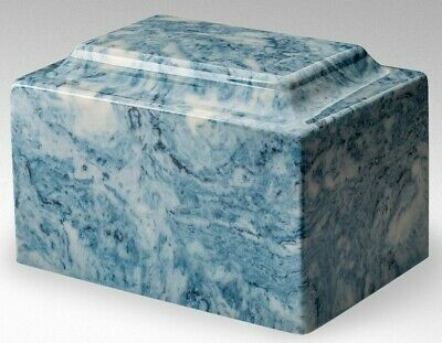Classic Cultured Marble Blue & White 100 Cubic Inches Cremation Urn For Ashes