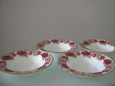 4 Rare Vintage Royal Albert Old Country Roses Soup Plates,