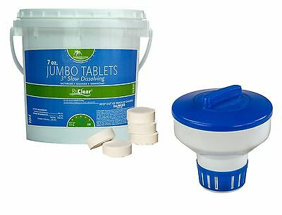 """3"""" Pool Spa Swimming Pool Stabilized Chlorine Tablets & Dispenser (Choose Size)"""