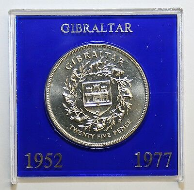 1977 Gibraltar Brilliant Uncirculated Cased Crown Silver Jubilee