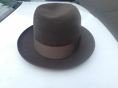 Vtg New Royal Stetson Brown or Taupe Whippet Fedora - Sz 7 - 7 1/4  Minty Cond!