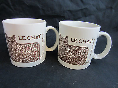 2 large 1972 brown Le Chat cat yarn mouse 16 oz mugs Taylor & Ng San Francisco