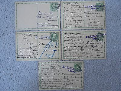 Austria Ww1 Military Green Postcards Censored Krakau Region. 1912,1915,1916.rare