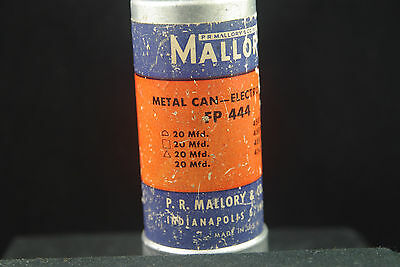 One Mallory FP 444 Multi-Section Electrolytic Twist Lock Filter Can Capacitor