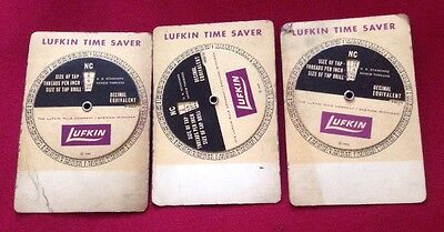 Lot of 3 Vintage 1963 Lufkin Time Saver Calculator w/ Taps & Drills Charts Tool