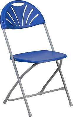 Lot Of 20 Hercules Series 650 Lb. Capacity Blue Plastic Fan Back Folding Chair