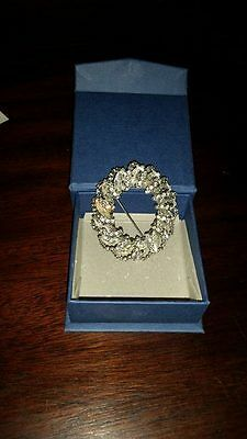Vintage Circle Wreath Clear Rhinestone Brooch Pin Signed Weiss