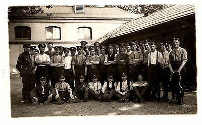 Postcard WW1 Royal Artillery Soldiers At Stables Horses RPPC 20