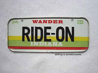 1984 INDIANA Post Cereal License Plate # RIDE-ON