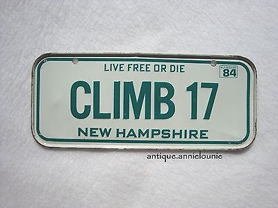 1984 NEW HAMPSHIRE Post Cereal License Plate # CLIMB 17