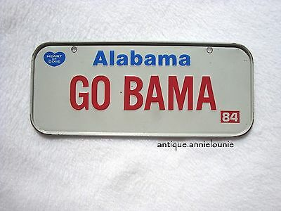 1984 ALABAMA Post Cereal License Plate # GO BAMA