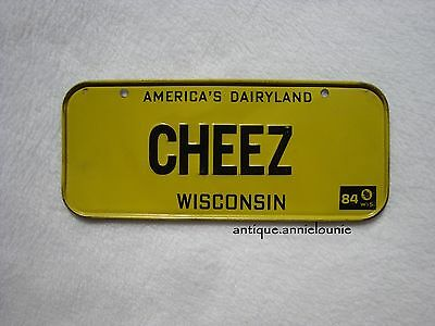 1984 WISCONSIN Post Cereal License Plate # CHEEZ