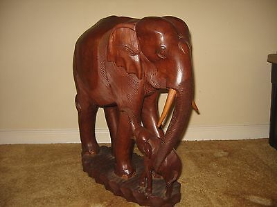 "Vintage Solid Teak Wood 21.5"" Hand Carved Elephant With Baby From Thailand"