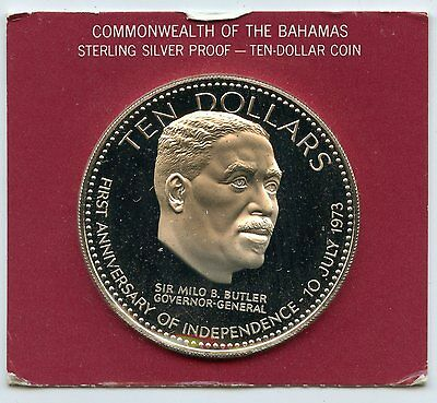 Sir Milo Butler 1974 Proof Silver Coin $10 Bahamas - Commemorative Case - AL640