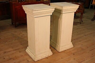 Pair of columns lacquered wood furniture antique style tables antiques 900