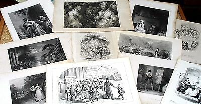 Lot of 11 Victorian Genre Scenes (Engravings - After Stephanoff and others c1850