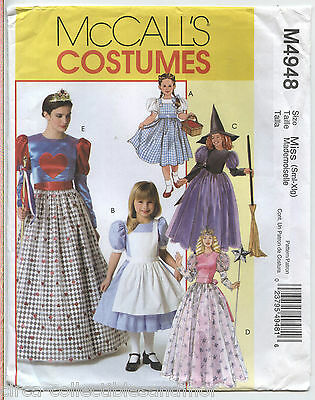 Queen Hearts Dorothy Good Witch Cinderella Costumes McCalls Sewing Pattern 4948