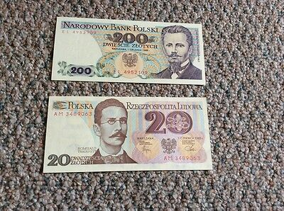 POLAND 1982 20 and 1988 100 ZLOTYCH BANKNOTES P-149 COLORFUL