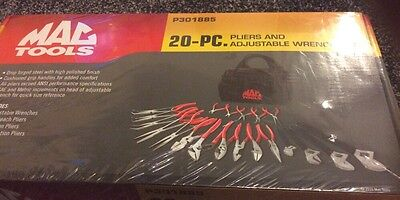 MAC TOOLS 20 Piece PLIERS AND ADJUSTABLE WRENCH SET with Canvas Carry Bag. New