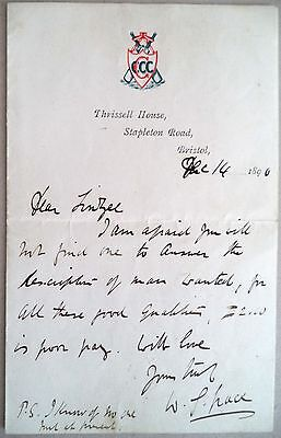 W. G Grace – Gloucestershire & England Test Player 1880-1899 Signed 1896 Letter