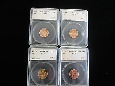 2009 Lincoln Cent 4 Coin Proof Set, MS++ RED, VERY NICE SETS, NO RESERVE