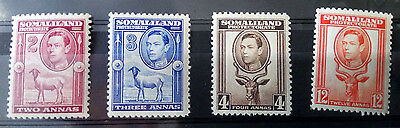 Somaliland Protectorate Stamps. SG 95, 96, 97, 100 mint no hinge 1938 head left