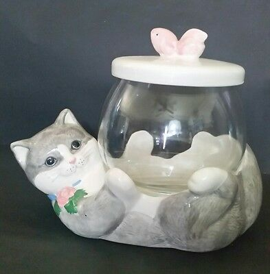 Vintage Treasure Craft Cat Holding Gold Fish Bowl Collectible Cookie Jar W Lid