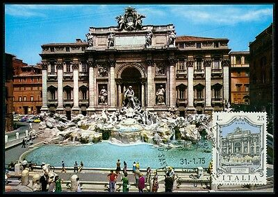 ITALIA MK 1975 ROM FONTANA TREVI BRUNNEN MAXIMUMKARTE MAXIMUM CARD MC CM bg22