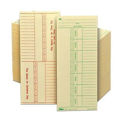 """Tops weekly double-sided time card numbered days, 3-3/8""""x 8-1/4"""" 500 count 1 box"""