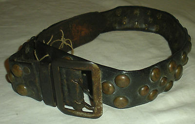 c. 1850 APACHE NATIVE AMERICAN INDIAN BRASS TACK LEATHER BELT W/ BUCKLE vafo
