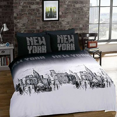 Duvet Cover & Pillow Case Bedding Pollycotton Set NEW YORK SIZE DOUBLE