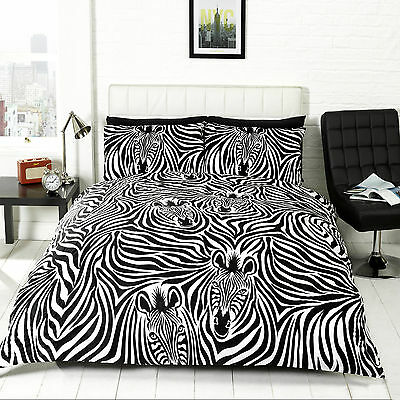 Duvet Cover & Pillow Case Bedding Pollycotton Set ZEBRA DESIGN SIZE KING