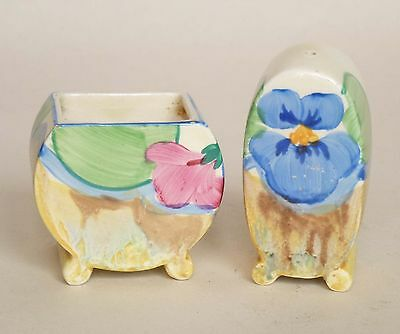Clarice Cliff Bonjour Shape PANSY Pattern Part Cruet Set