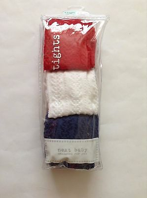Next Baby 3 Pairs Tights Red,White,Navy Size 0-3mths