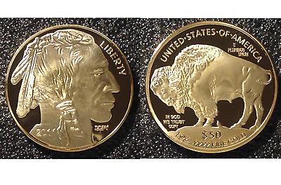 2 - $50 Gold BUFFALO INDIAN Commemorative Tribute Proof Coins - 24 KT Gold Clad