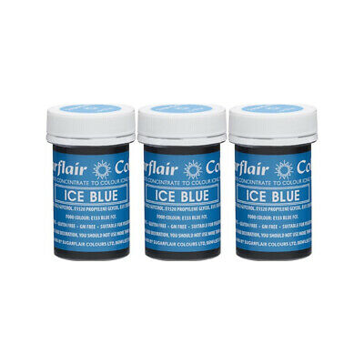 3 x Sugarflair 25g Ice Blue Spectral Paste Gel Edible Food Colour for Cake Icing