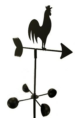 WEATHER VANE Rooster 5 Feet Tall Black Garden Mount Yard Decor