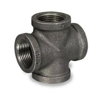 "3/8"" Inch Black Malleable Iron Pipe Threaded Cross Fittings Plumbing - P6672"