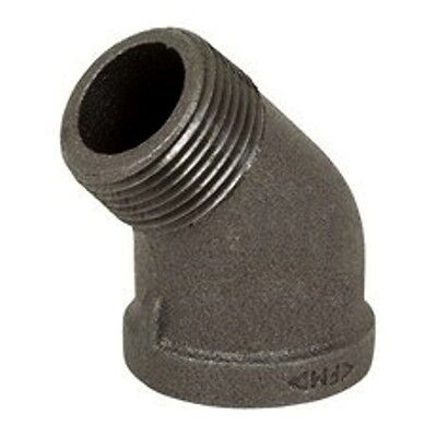 "3/4"" Black Malleable Iron Pipe Threaded 45° Street Elbow Fittings - P6518"
