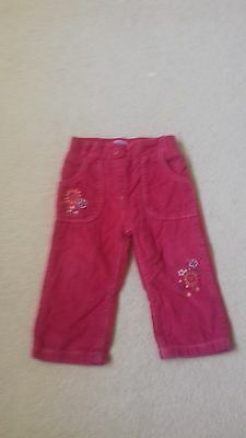 Girls Pink Cords Age 12-18 Months