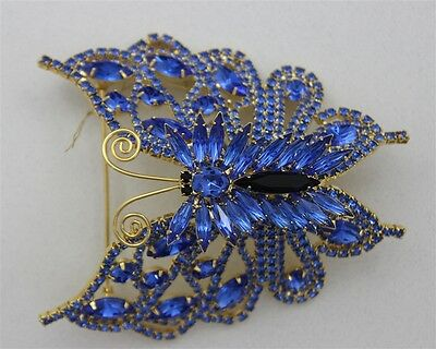 """Vintage RARE DOMINIQUE BUTTERFLY Blue Crystal 4 1/4"""" Brooch Marquise Rhinestone"""