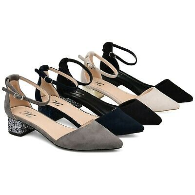 c27c496a36a BRINLEY CO WOMENS Glitter D orsay Pointed Toe Wrap Strap Pumps New ...