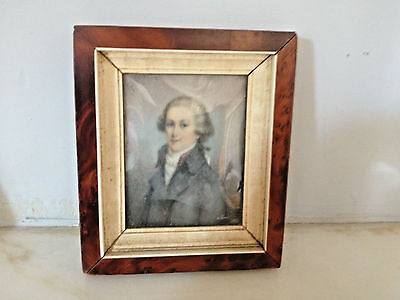 ANTIQUE 19th CENTURY FRAMED OIL MINIATURE PORTRAITS OF  A GENTLEMAN