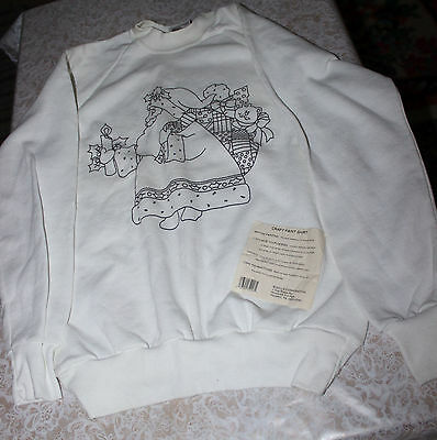 Vintage Bucilla White Santa Sweat Shirt to Paint #64216