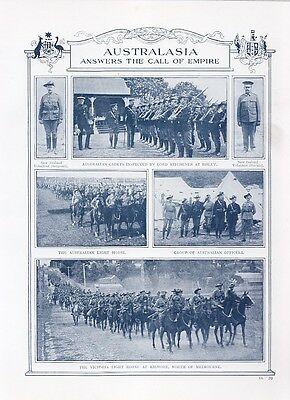 Australasia Answers the call of the Empire.Military Centre-Fold  page circa 1915