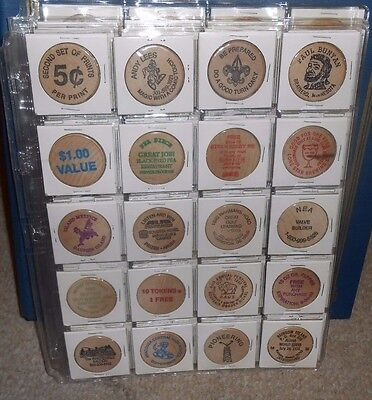 Lot of 20 Different Vintage Wooden Nickels-Saloon-Lone Star-Cadillac-Scout-+++